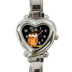 Halloween Orange Witch Owl Heart Italian Charm Watch