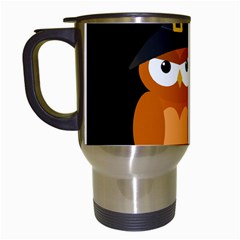 Halloween Orange Witch Owl Travel Mugs (white)