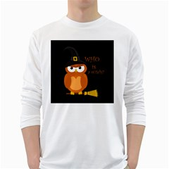 Halloween Orange Witch Owl White Long Sleeve T Shirts