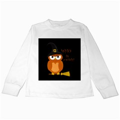Halloween Orange Witch Owl Kids Long Sleeve T Shirts