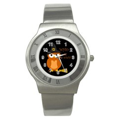 Halloween Orange Witch Owl Stainless Steel Watch