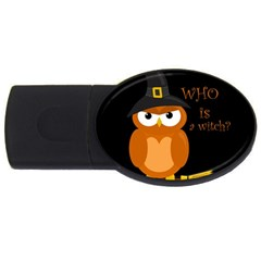 Halloween Orange Witch Owl Usb Flash Drive Oval (4 Gb)