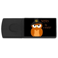 Halloween Orange Witch Owl Rectangular Usb Flash Drive