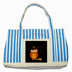 Halloween Orange Witch Owl Striped Blue Tote Bag