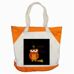 Halloween Orange Witch Owl Accent Tote Bag