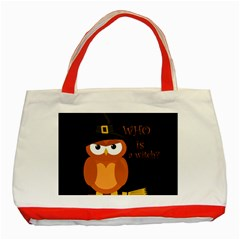 Halloween Orange Witch Owl Classic Tote Bag (red)