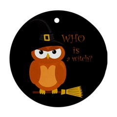 Halloween Orange Witch Owl Round Ornament (two Sides)