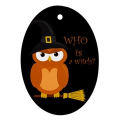 Halloween Orange Witch Owl Oval Ornament (two Sides)