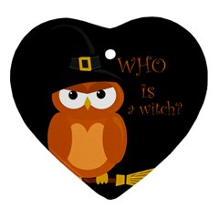Halloween Orange Witch Owl Heart Ornament (two Sides)