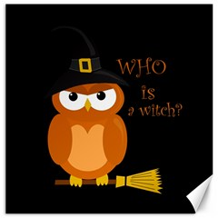 Halloween Orange Witch Owl Canvas 12  X 12