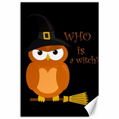 Halloween Orange Witch Owl Canvas 12  X 18