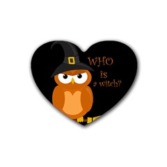 Halloween Orange Witch Owl Heart Coaster (4 Pack)