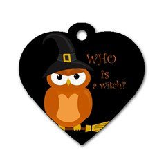 Halloween Orange Witch Owl Dog Tag Heart (two Sides)