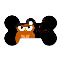 Halloween Orange Witch Owl Dog Tag Bone (two Sides)