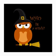 Halloween Orange Witch Owl Medium Glasses Cloth (2 Side)