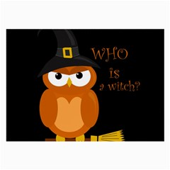 Halloween Orange Witch Owl Large Glasses Cloth (2 Side)