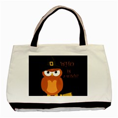 Halloween Orange Witch Owl Basic Tote Bag (two Sides)