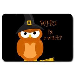 Halloween Orange Witch Owl Large Doormat