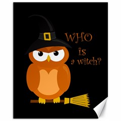 Halloween Orange Witch Owl Canvas 11  X 14