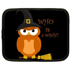 Halloween Orange Witch Owl Netbook Case (large)