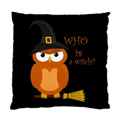 Halloween Orange Witch Owl Standard Cushion Case (one Side)
