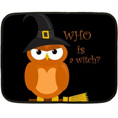 Halloween Orange Witch Owl Double Sided Fleece Blanket (mini)