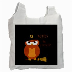 Halloween Orange Witch Owl Recycle Bag (one Side)