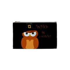 Halloween Orange Witch Owl Cosmetic Bag (small)