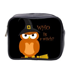 Halloween Orange Witch Owl Mini Toiletries Bag 2 Side
