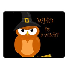 Halloween Orange Witch Owl Fleece Blanket (small)