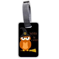 Halloween Orange Witch Owl Luggage Tags (one Side)