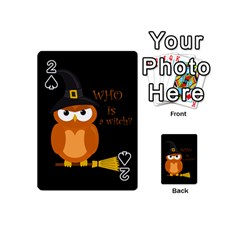 Halloween Orange Witch Owl Playing Cards 54 (mini)
