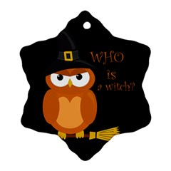 Halloween Orange Witch Owl Ornament (snowflake)