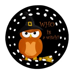 Halloween Orange Witch Owl Round Filigree Ornament (two Sides)
