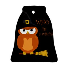 Halloween Orange Witch Owl Bell Ornament (two Sides)