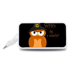 Halloween Orange Witch Owl Portable Speaker (white)