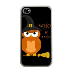 Halloween Orange Witch Owl Apple Iphone 4 Case (clear)