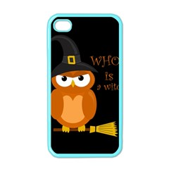 Halloween Orange Witch Owl Apple Iphone 4 Case (color)
