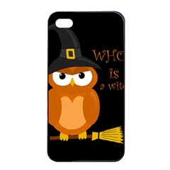 Halloween Orange Witch Owl Apple Iphone 4/4s Seamless Case (black)