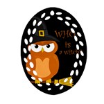 Halloween orange witch owl Oval Filigree Ornament (Two Sides) Back