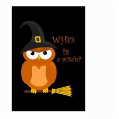 Halloween Orange Witch Owl Large Garden Flag (two Sides)