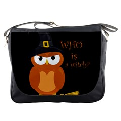 Halloween Orange Witch Owl Messenger Bags