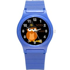 Halloween Orange Witch Owl Round Plastic Sport Watch (s)