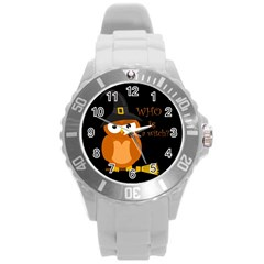 Halloween Orange Witch Owl Round Plastic Sport Watch (l)