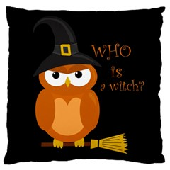 Halloween Orange Witch Owl Large Cushion Case (two Sides)