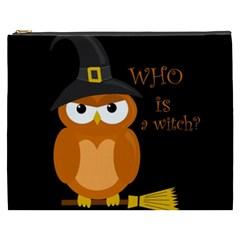 Halloween Orange Witch Owl Cosmetic Bag (xxxl)