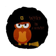 Halloween Orange Witch Owl Standard 15  Premium Round Cushions