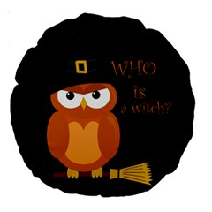 Halloween Orange Witch Owl Large 18  Premium Round Cushions