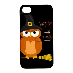 Halloween Orange Witch Owl Apple Iphone 4/4s Hardshell Case With Stand