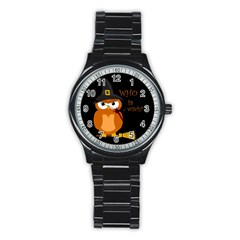Halloween Orange Witch Owl Stainless Steel Round Watch